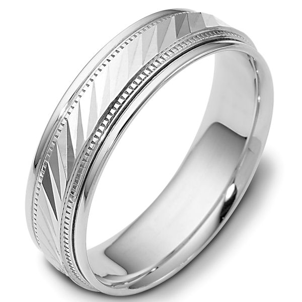 Item # 46836WE - 18kt White gold classic, comfort fit, 6.0mm wide wedding band. The ring has a high polish finish. Different finishes may be selected.