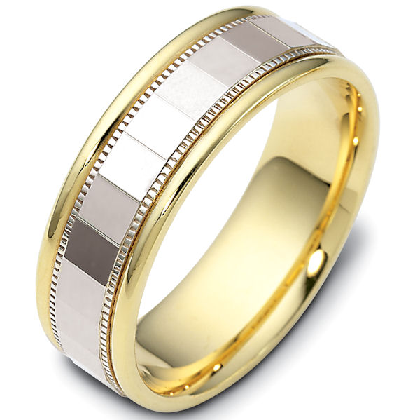 Item # 46839PE - Platinum and 18kt yellow gold classic, comfort fit, 7.0mm wide wedding band. The ring has a polish finish. Different finishes may be selected.