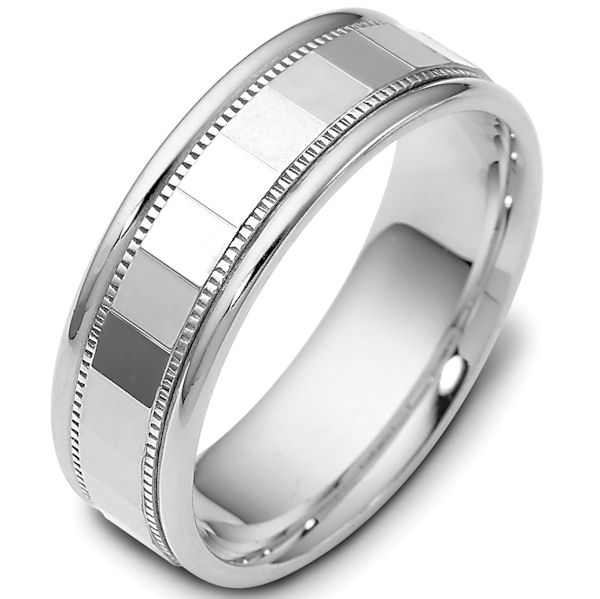 Item # 46839W - 14kt White gold classic, comfort fit, 7.0mm wide wedding band. The ring has a polish finish. Different finishes may be selected.