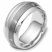 Item # 46988TE - Titanium-18K Spinning Diamond Wedding Band