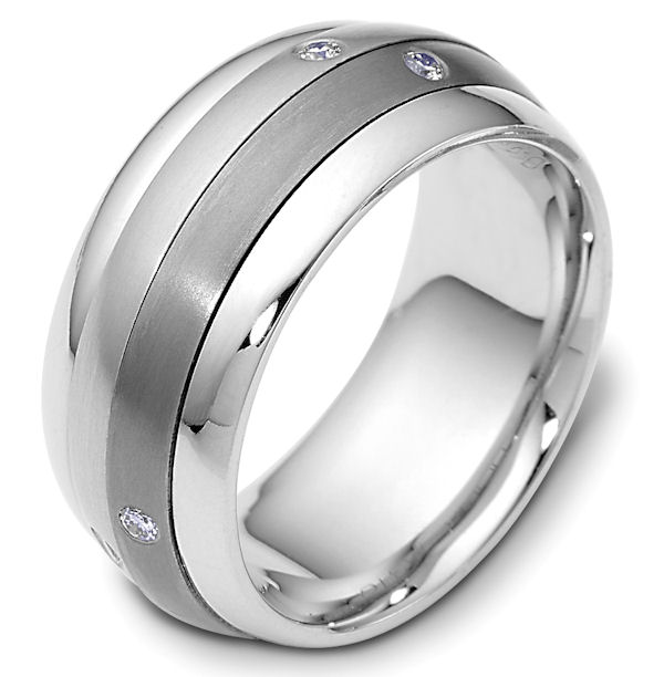 Item # 46988TP - Titanium and platinum diamond spinning, comfort fit, 9.0mm wide wedding band. The ring has 0.09 ct tw diamonds that are VS1-2 in clarity and G-H in color. There are 6 round brilliant cut diamonds around the band, each measures 0.015 ct. The center portion of the ring rotates and has a matte finish. The edges are polished. Different finishes may be selected or specified.