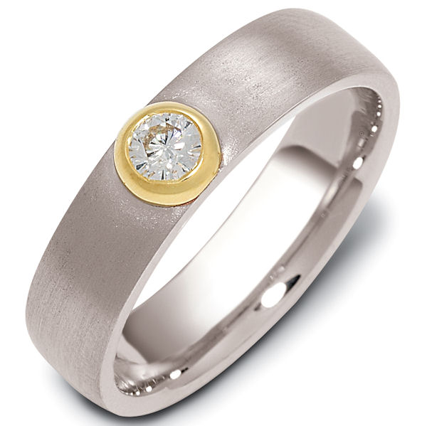 Item # 47147 - 14kt Two-tone gold diamond, comfort fit, 5.0mm wide wedding band. The ring holds one round brilliant cut diamond that is 0.15 ct, VS1-2 in clarity and G-H in color. The ring has a sandblast finish. Different finishes may be selected.
