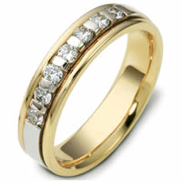 Item # 47243NE - 18kt Two-Tone Diamond Wedding Ring