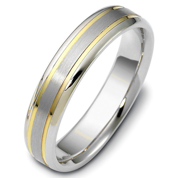 Item # 47319PE - Platinum and 18kt yellow gold classic, comfort fit, 5.0mm wide wedding band. The ring has a brushed finish in the center and the rest is polished. Different finishes may be selected.