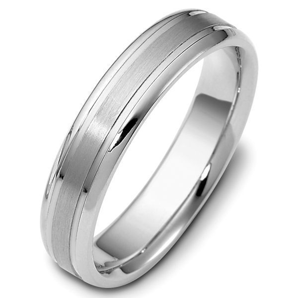 Item # 47319WE - 18kt White gold classic, comfort fit, 5.0mm wide wedding band. The ring has a brushed finish in the center and the rest is polished. Different finishes may be selected.