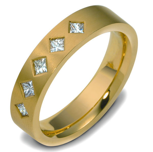 Item # 47341E - 18kt Yellow gold diamond, comfort fit, 5.5mm wide wedding band. The ring has approximately 0.50 ct tw diamonds, VS1-2 in clarity and G-H in color. There are 5 princess cut diamonds and each measures 0.10 ct. The ring is matte finish, 5.5mm wide and comfort fit.