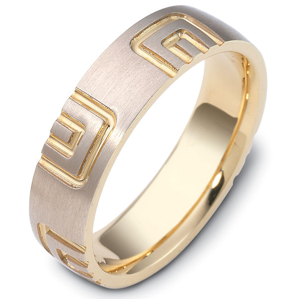 Item # 47493 - 14kt Two-tone gold carved, comfort fit, 6.0mm wide wedding band. The ring has a carved pattern all around the ring. It is 6.0mm wide and comfort fit.