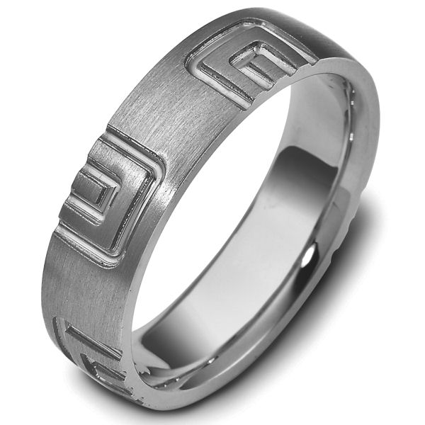 Titanium Carved Wedding Ring
