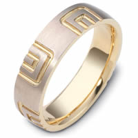 Item # 47493E - Two-Tone Carved Wedding Ring