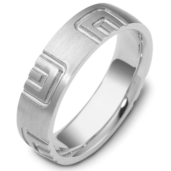 Item # 47493WE - 18kt White gold carved, comfort fit, 6.0mm wide wedding band. The ring has a carved pattern all around the ring. It is 6.0mm wide and comfort fit.