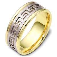 Item # 47528E - Greek Key Carved Wedding Ring
