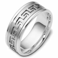 Platinum Greek Key Carved Wedding Ring
