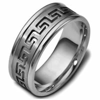 Item # 47528TI - Greek Key Carved Wedding Ring