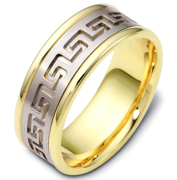 Item # 47528E - 18kt Two-tone gold gold contemporary greek key, carved, comfort fit, 8.0mm wide wedding band. The ring has a beautiful greek key pattern around the whole ring. It is a matte finish in the center, polished on the edges, 8.0mm wide and comfort fit.
