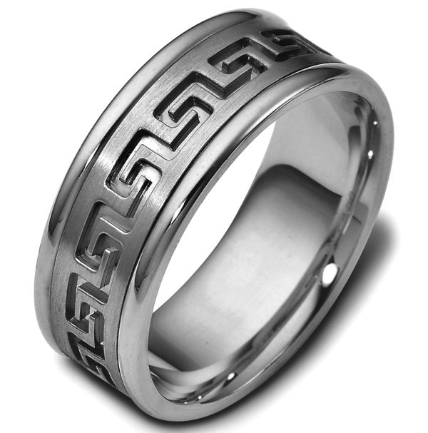 Item # 47528TI - Titanium contemporary greek key, carved, comfort fit, 8.0mm wide wedding band. The ring has a beautiful greek key pattern around the whole ring. It is a matte finish in the center, polished on the edges, 8.0mm wide and comfort fit.