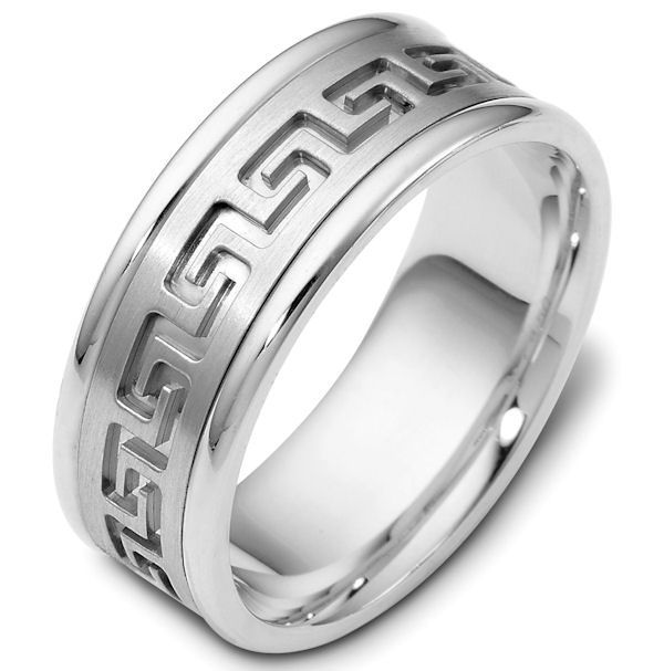 Item # 47528WE - 18kt White gold gold contemporary greek key, carved, comfort fit, 8.0mm wide wedding band. The ring has a beautiful greek key pattern around the whole ring. It is a matte finish in the center, polished on the edges, 8.0mm wide and comfort fit.