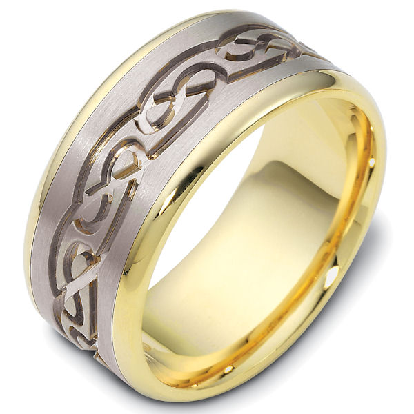 Item # 47541E - 18kt Two-tone gold celtic carved, comfort fit, 9.5mm wide wedding band. The ring has a beautiful celtic pattern carved around whole band with a matte finish in the center and polish finish on the edges. It is 9.5mm wide and comfort fit.