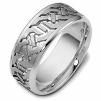 Item # 47542PD - Palladium Contemporary Carved Wedding Ring