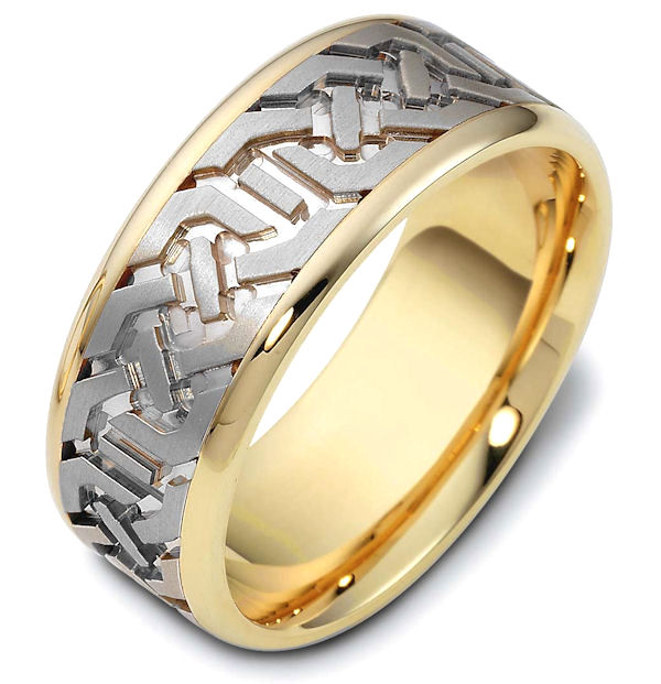 Item # 47542E - 18kt Two-tone gold contemporary carved, comfort fit, 8.5mm wide wedding band. The ring has a beautiful carved pattern around the whole band with a matte finish in the center and polish finish on the edges. It is 8.5mm wide and comfort fit.