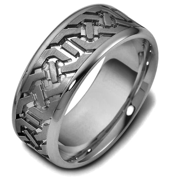 Item # 47542TI - Titanium contemporary carved, comfort fit, 8.5mm wide wedding band. The ring has a beautiful carved pattern around the whole band with a matte finish in the center and polish finish on the edges. It is 8.5mm wide and comfort fit.