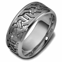 Item # 47542TI - Titanium Contemporary Carved Wedding Ring