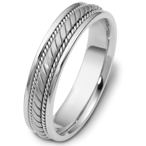 Item # 47554PP - Platinum hand crafted, carved, comfort fit, 5.0mm wide wedding band. The center portion is carved and has a matte finish. There is one rope on each side of the center portion with a polished finish. The rest of the band is polished. Different finishes may be selected or specified.