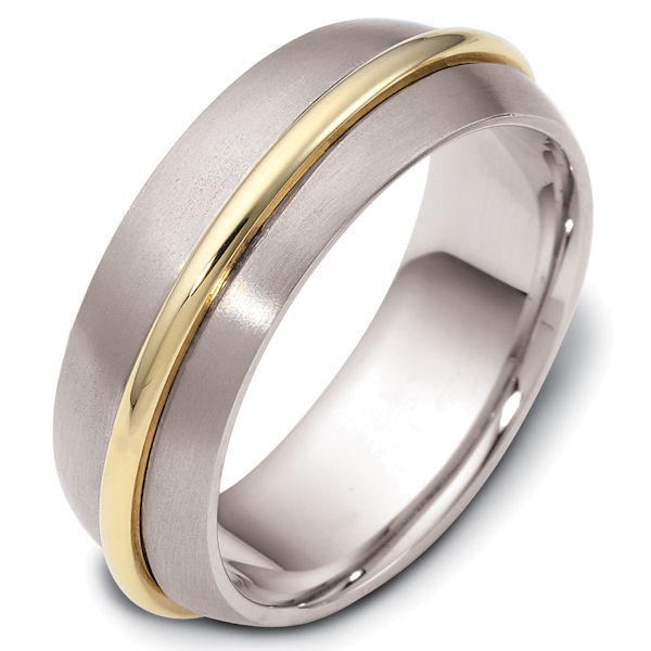 Item # 47560PE - Platinum and 18kt yellow gold contemporary, comfort fit, 7.5mm wide wedding band. The raised gold portion has a polished finish and spins around the ring. The rest of the band is matte finish. Different finishes may be selected or specified.