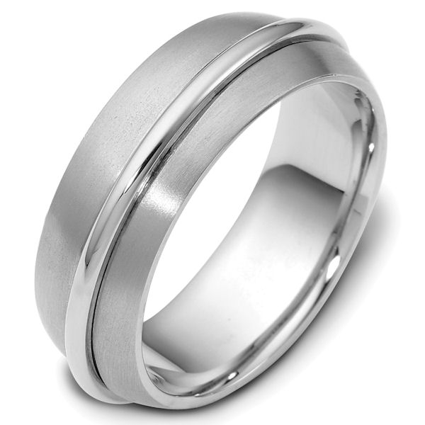 Item # 47560PP - Platinum contemporary, comfort fit, 7.5mm wide wedding band. The raised platinum portion has a polished finish and spins around the ring. The rest of the band is matte finish. Different finishes may be selected or specified.