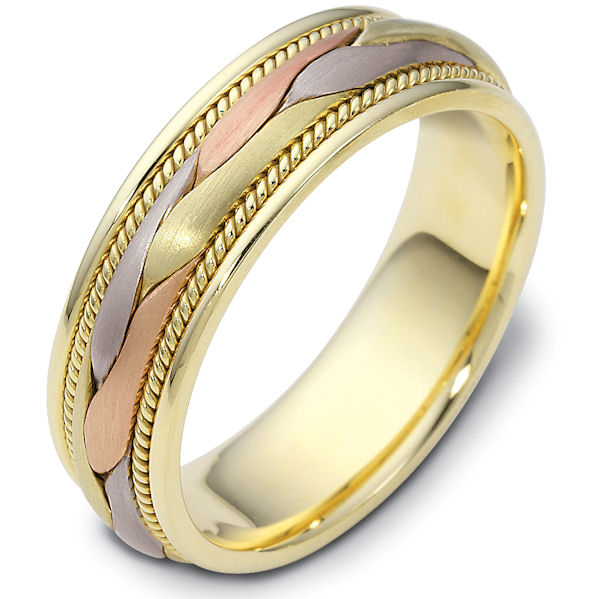 Item # 47567PE - Platinum and 18kt tri-color gold handcrafted, comfort fit, 6.5mm wide wedding band. The ring has a beautiful hand crafted braid in the center that has a matte finish. Next to the hand crafted braid is one rope on each side. Different finishes may be selected or specified.
