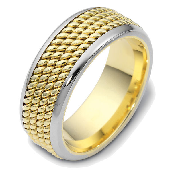 Item # 47570PE - Platinum and 18kt yellow gold handcrafted, comfort fit, 8.5mm wide wedding band. The ring has 4 hand crafted ropes in the center that have a polished finish. Different finishes may be selected or specified.