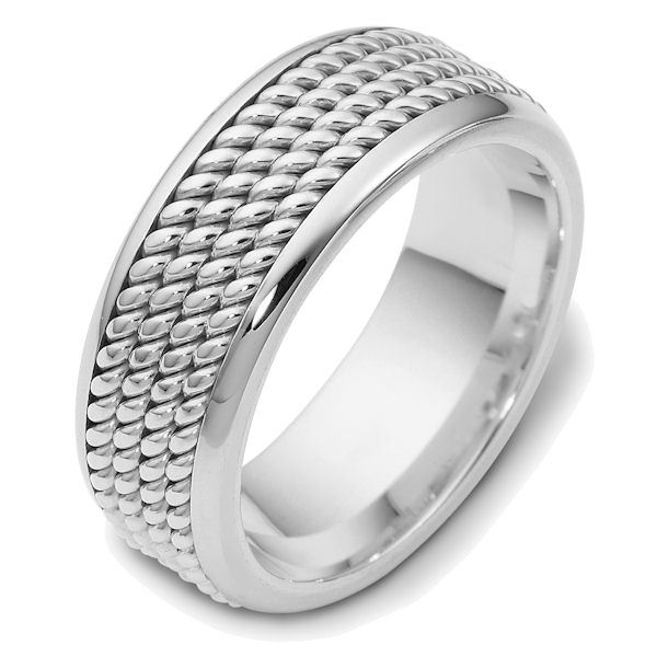 Item # 47570PP - Platinum handcrafted, comfort fit, 8.5mm wide wedding band. The ring has 4 hand crafted ropes in the center that have a polished finish. Different finishes may be selected or specified.