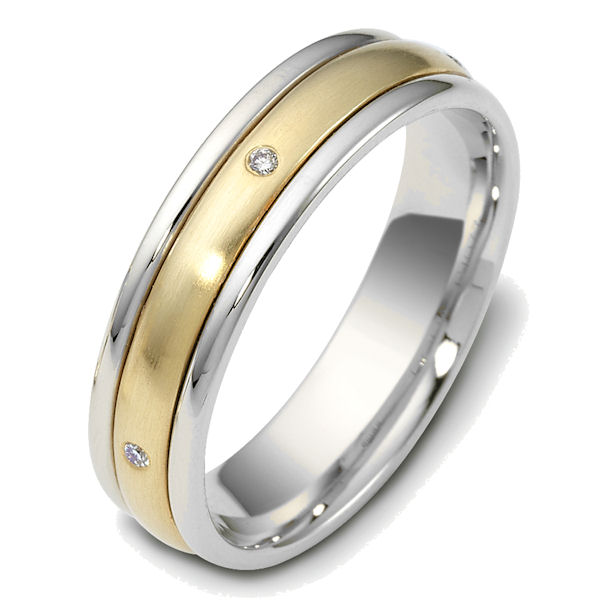 Item # 47655 - 14kt Two-tone gold diamond spinning, comfort fit, 5.0mm wide wedding band. The ring has 0.025 ct tw diamonds that are VS1-2 in clarity and G-H in color. There are 5 round brilliant cut diamonds, each measures 0.005 ct. The center portion of the ring rotates and has a matte finish. The edges are polished. Different finishes may be selected or specified.