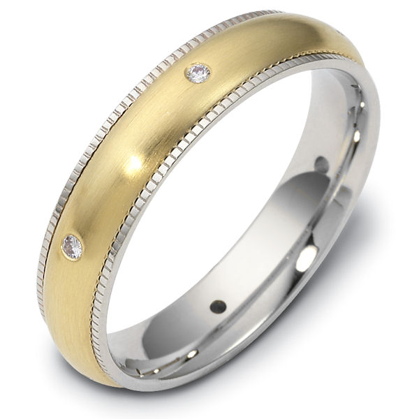 Item # 47668E - 18kt Two-tone gold diamond milgrain edge, comfort fit, 4.5mm wide wedding band. The ring has 0.09 ct tw diamonds that are VS1-2 in clarity and G-H in color. There are 6 round brilliant cut diamonds, each measures 0.015 ct. The center portion of the ring has a matte finish. Different finishes may be selected or specified.