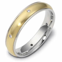 Item # 47668PE - Platinum-18kt Diamond Milgrain Edge Wedding Ring