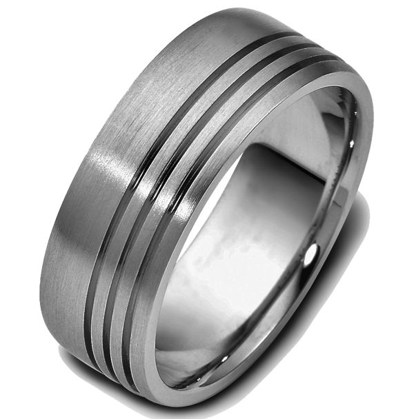 Item # 47693TI - Titanium classic carved, comfort fit, 8.0mm wide wedding band. The ring has 3 straight carved lines around the whole band with a matte finish. It is 8.0mm wide and comfort fit.
