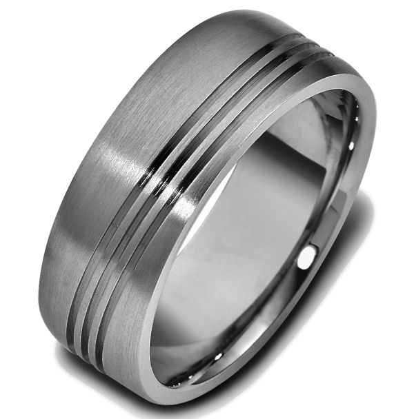 Item # 47694TI - Titanium classic carved, comfort fit, 8.0mm wide wedding band. The ring has 3 carved slanted lines around the whole band. It is 8.0mm wide, comfort fit and has a matte finish.