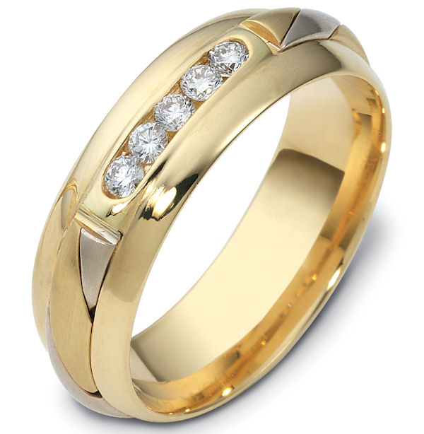 Item # 47761E - 18kt Two-tone gold diamond, comfort fit, 7.0mm wide wedding band. The ring has 5 brilliant cut diamonds that are 0.22 ct tw. Each diamond is approximately 0.04 ct, VS1-2 in clarity and G-H in color. It is 7.0mm wide and comfort fit.