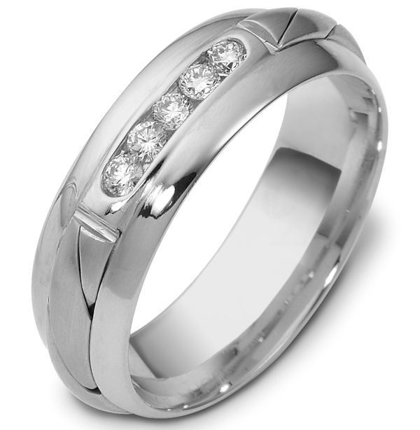 Item # 47761WE - 18kt White gold diamond, comfort fit, 7.0mm wide wedding band. The ring has 5 brilliant cut diamonds that are 0.22 ct tw. Each diamond is approximately 0.04 ct, VS1-2 in clarity and G-H in color. It is 7.0mm wide and comfort fit.