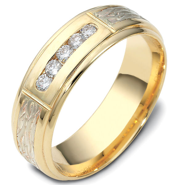 Item # 47764E - 18kt Two-tone gold diamond, comfort fit, 7.0mm wide wedding band. The ring has 5 brilliant cut diamonds that are 0.22 ct tw. Each diamond is approximately 0.04 ct, VS1-2 in clarity and G-H in color. It is 7.0mm wide and comfort fit.