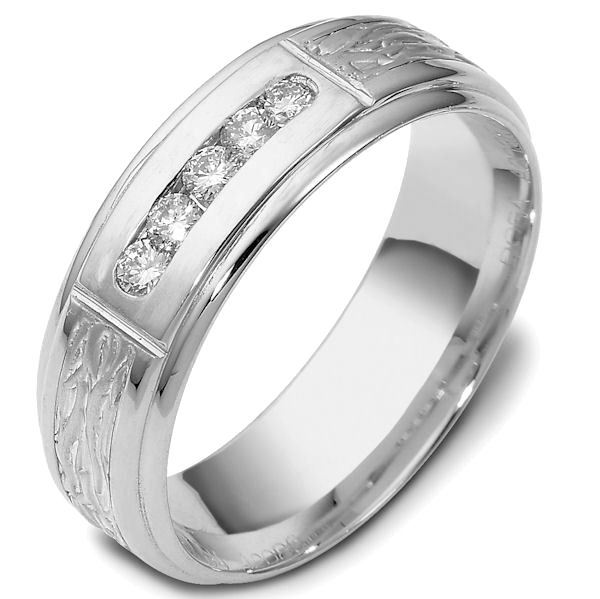 Item # 47764W - 14kt White gold diamond, comfort fit, 7.0mm wide wedding band. The ring has 5 brilliant cut diamonds that are 0.22 ct tw. Each diamond is approximately 0.04 ct, VS1-2 in clarity and G-H in color. It is 7.0mm wide and comfort fit.