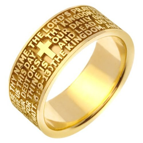 Item # 47822 - 14K yellow gold Lord's Prayer wedding band. The wedding band is comfort fit.