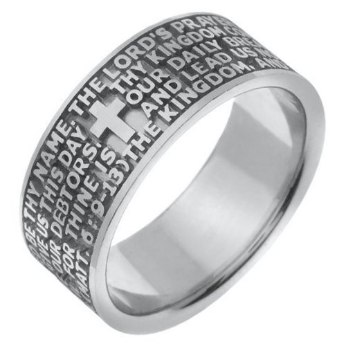 Item # 47822WE - 18K white  gold Lord's Prayer wedding band. The wedding band is comfort fit.