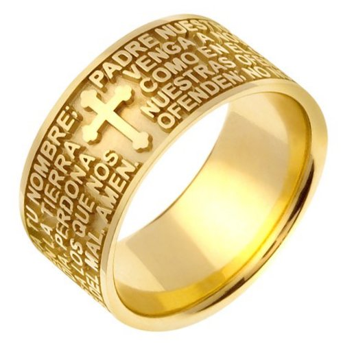 Item # 47824 - 14K  gold  Padre Nuestro (Lord's Prayer)  wedding band. The wedding band is comfort fit.