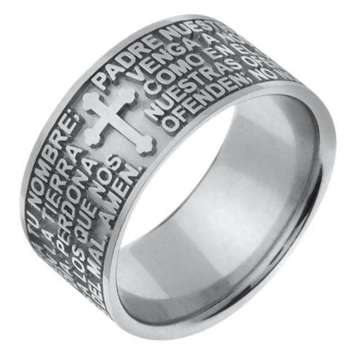 Item # 47824WE - 18K  white gold  Padre Nuestro (Lord's Prayer)  wedding band. The wedding band is comfort fit.