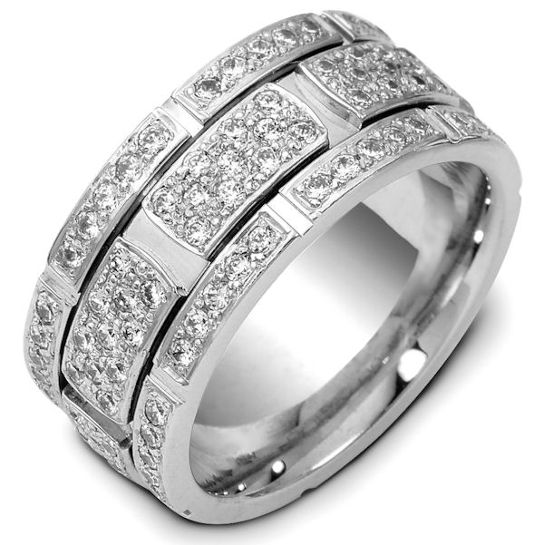 Item # 47880W - 14kt White gold diamond, comfort fit, 9.0mm wide wedding band. The ring has 1.47 ct tw diamonds, VS1-2 in clarity and G-H in color. There are about 147 brilliant round cut diamonds and each measures about 0.01 ct. The amount of diamonds used may vary depending on the size of the ring. The band is 9.0mm wide and comfort fit.