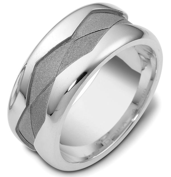 Item # 47887W - 14kt White gold, comfort fit, 9.0mm wide wedding band. The ring has a sandblast finish in the center and high polish on the edges. It is 9.0mm wide and comfort fit.