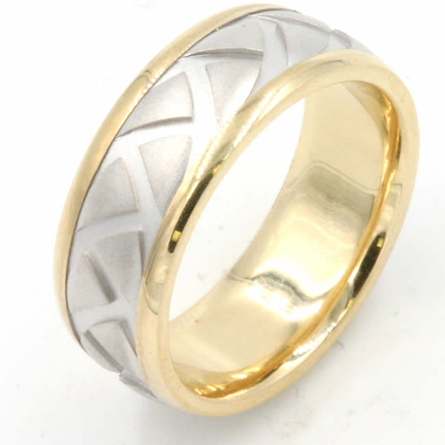Two-Tone Carved Wedding Ring