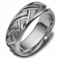 Item # 47897TI - Titanium Carved Wedding Ring