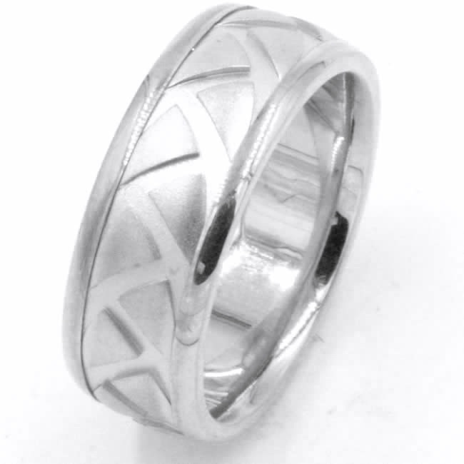 Item # 47897WE View 3 - White Gold Carved Wedding Ring