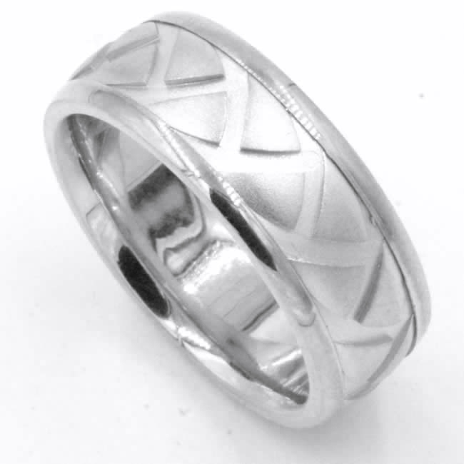 Item # 47897WE View 4 - White Gold Carved Wedding Ring